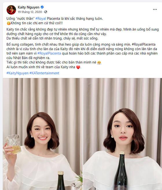 Diễn viên Kathy Nguyễn review nước uống đẹp da Royal Placenta-thaoduockhoe.com
