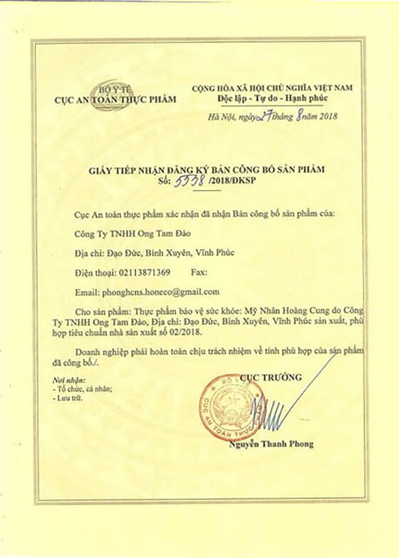 giấy chứng nhận mỹ nhân hoàng cung-thaoduockhoe.com