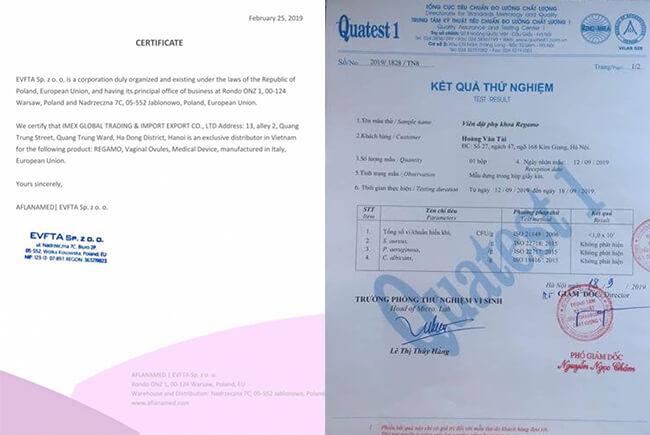 giấy chứng nhận viên đặt phụ khoa regamo-thaoduockhoe.com