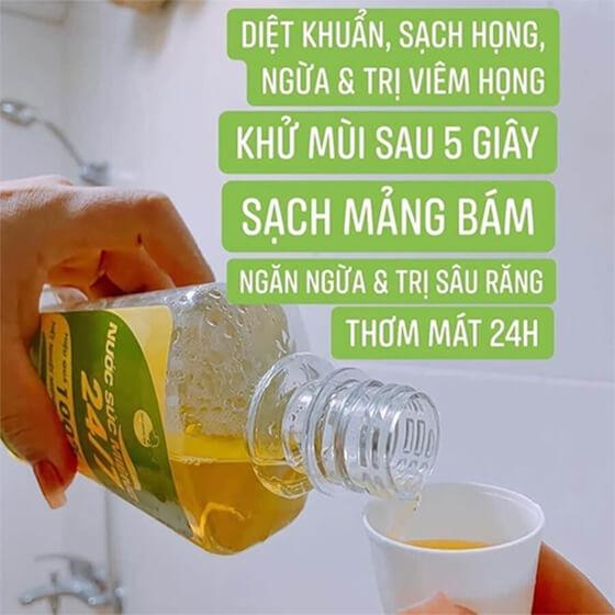 cách sử dụng nước súc miệng bách hương tán-thaoduockhoe.com