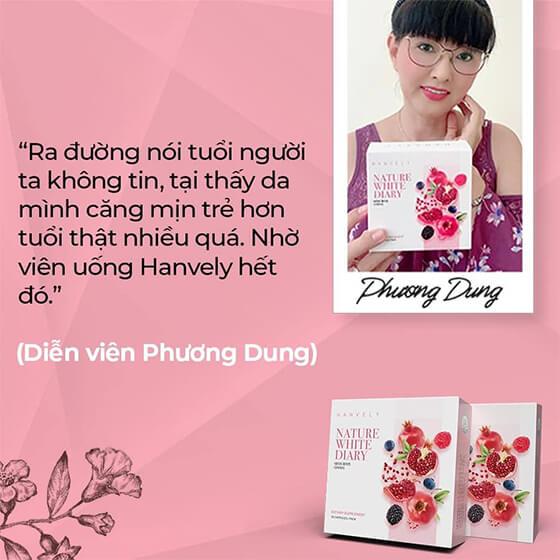 diễn viên Phương Dung review viên uống trắng da nature white diary-thaoduockhoe.com